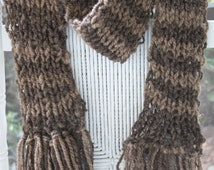 SALE Hand Knit Scarf in Two Tone Brown UNISEX, Soft Handspun Natural Brown,  Bulky Wool Yarn