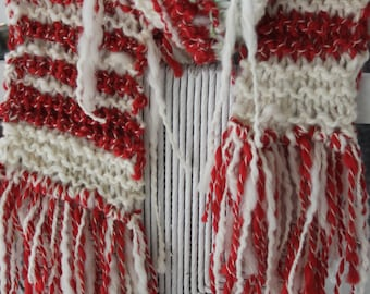 SALE Hand Knit Red and White Scarf,  Hand spun yarn, part of  holiday collection