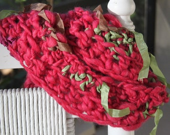 SALE Hand Knit Red CHRISTMAS Scarf with Ribbons of Super Soft Handspun Hand Dyed Yarn