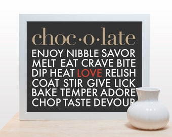 Chocolate Typography Print - Poster art modern minimal kitchen wall decor foodie dessert love chocoholic red gray clean classic design