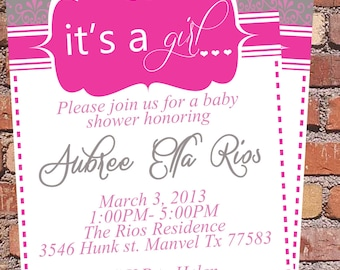 Its A girl Pink and Grey Baby shower Invitation