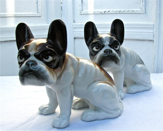 Awesome Pair of Vintage French Bulldog Statues - MIJ