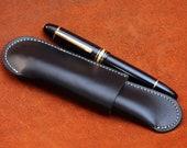 Vegetable Tan Leather Single (1) Pen case  Ergo Design (black)