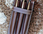 Vegetable Tan  Leather (3) Pen Case Chocolate Brown