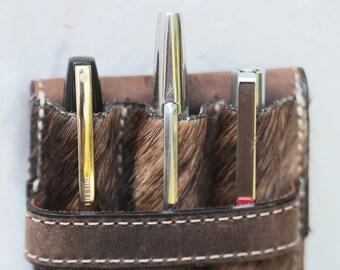 Fur Fountain Pen (3) Pen Case Hair-On-Hide coupled with Vintage Hide
