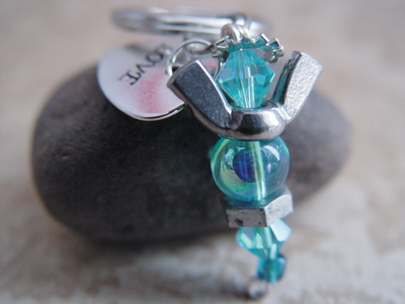"Baby Blue Beaded Silver Wingnut ""Love"" Heart Petite Angel Charm Keychain"