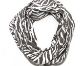 Zebra Print Scarf - Grey and White Circle Scarf on SALE