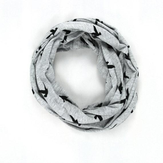 Bird Infinity Scarf - Black and Gray