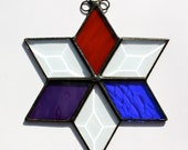 Beautiful Vintage Handmade Stained Beveled Glass Star Suncatcher with unique hanger Purple Blue Red