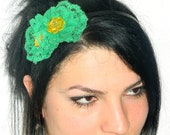 Green Orange head band, crown,  unique head piece design. Green lace head band. Womens Headband, Summer cute headband.