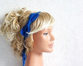 Cobalt Blue Knit Bow,  Woman Head Band, Fashion Woman Hair Accessory, Cute Head Band, Summer headband Sale...