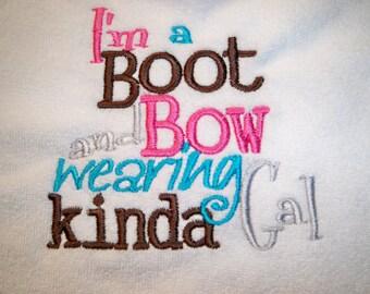 Cowgirl Bib - Baby Girl Pink Cowgirl Bib - I'm a Boot and Bow wearing Kinda Gal Baby Bib