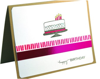 Birthday card, handmade birthday card, hot pink birthday card