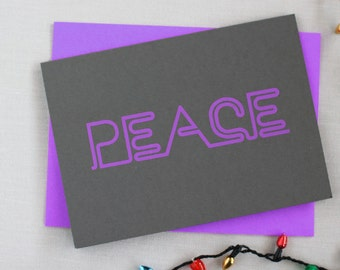 Neon Holiday Cards : PEACE Pack of 8