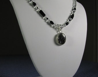 Spider Web Necklace Queen of Shadows Synthetic Quartz Black and Clear