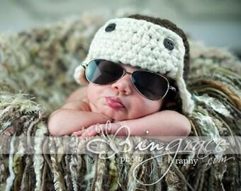 Crochet Aviator Hat Brown