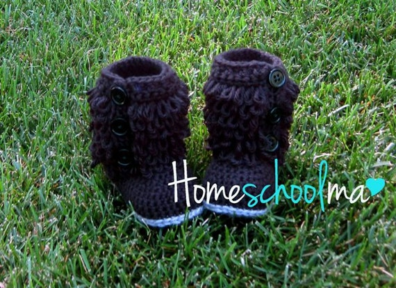 Crochet Ugg inspired Baby Boots Black