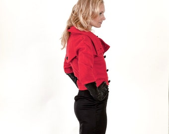 Womens' Cropped Double Breasted Red Wool Pea Coat Jacket