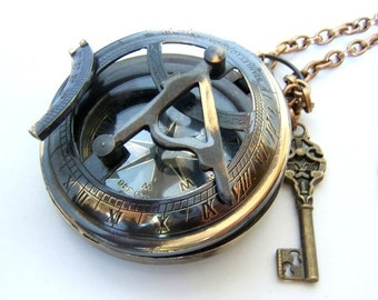 "Fully Functional 3 1/2 "" Brass compass with Sundial, Steampunk/ nautical accessory Father's day"