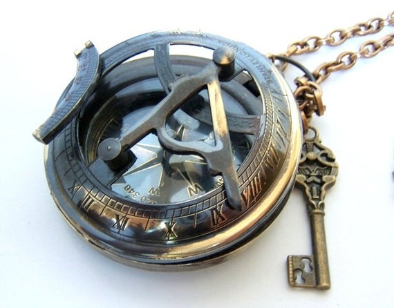 """Fully Functional 3 1/2 """" Brass compass with Sundial, Steampunk/ nautical accessory Father's day"""