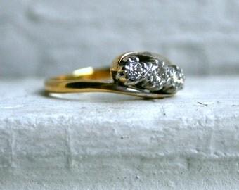 Vintage 18K Yellow Gold Diamond Three Stone Engagement Ring.