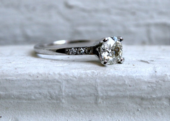 RESERVED - The Classic Vintage Platinum Diamond Engagement Ring - 0.97ct.