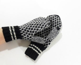 Hand Knitted Mittens - Black and White, Size Large
