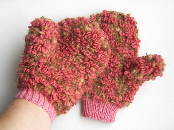 Hand Knitted Merino Wool Mittens - Pink and Light Brown, Small - Medium