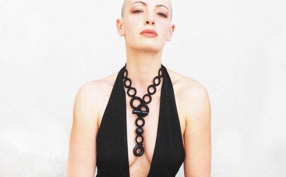 Statement necklace, modern necklace, black fiber necklace, statement jewelry, textile jewelry, gift ideas for her