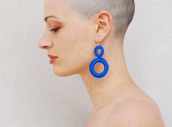 Modern earrings, fiber earrings, geometric earrings, Simple earrings, Hoop earrings,  Royal blue, modern jewelry, everyday