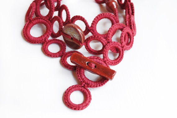 ON SALE Red coral statement necklace. OOAK Textile jewelry by Aliquid Ooak jewelry