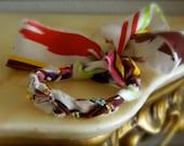 NEW Multicolor Ikat Print Silk and Rhinestone Friendship Bracelet