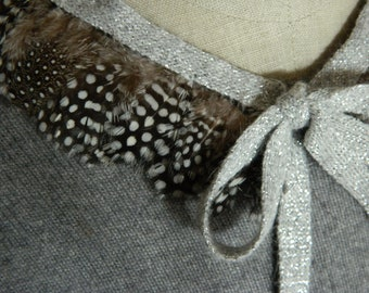 Polka Dot Feather Collar Necklace with Adjustable Silver Lurex Knit Ribbon Closure