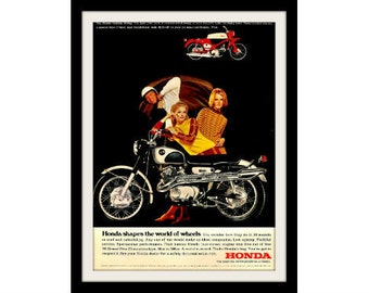 1967 HONDA Black Bomber Motorcycle Ad, Vintage Advertisement Print