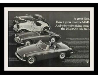 1971 MG MGB Classic Cars Ad, Vintage Advertisement Wall Art Decor Print