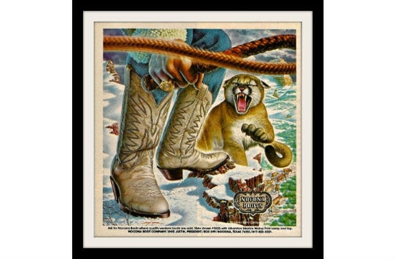 NOCONA Snow Cougar Western Art Boots Ad, Vintage Collectible Paper Ephemera Wall Decor