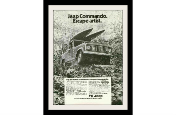"JEEP COMMANDO Forest & Kayak Ad, ""Escape Artist"" Vintage Collectible Paper Ephemera Marketing Wall Art"