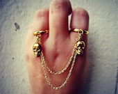 skull double ring, slave ring, skull ring, double ring, connected rings, chain rings, unique ring
