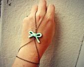 mint bow slave bracelet, bracelet ring, ring bracelet, slave ring, unique bracelet