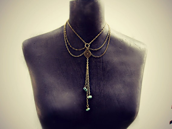 turquoise chain collar, turquoise choker, peterpan collar, body chain, unique necklace, statement necklace