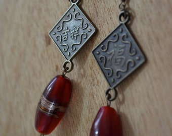 SALE Bronze  Currency and Red Beaded Earrings. Oriental. Clearance. Bronze Hook Earring.