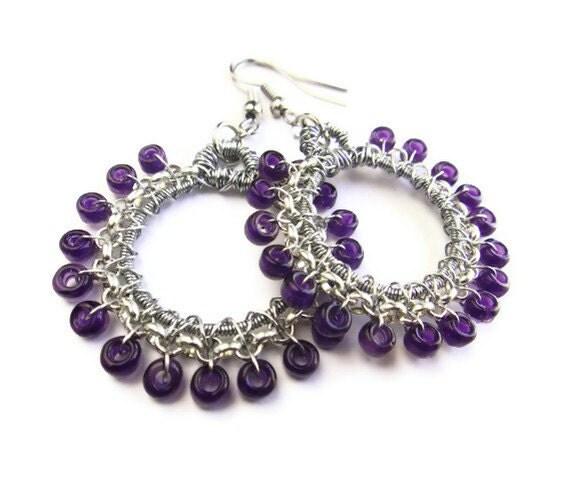 Purple Wire Wrapped Earrings.