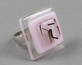 Pink Fused Glass Ring - Pink and Black Ring - Adjustable Silver Ring