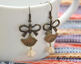 Bird Earrings - Antique Bronze Bow and Bird Dangle Earrings - Czech Glass Flower Beads - Bronze Earrings Hook