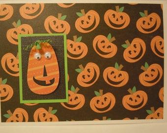 Halloween Handmade Greeting Card with Jack-o-lantern pumpkin embellishment