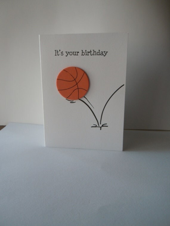 Basketball happy birthday handmade greeting card with orange like this item bookmarktalkfo Image collections