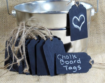 10 Scallop Chalkboard Tags with Jute Twine & Chalk - Set of 10 - Wood Chalkboard Tag