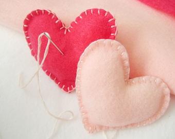 Felt Heart tiny plush pillows, party favors, decorations