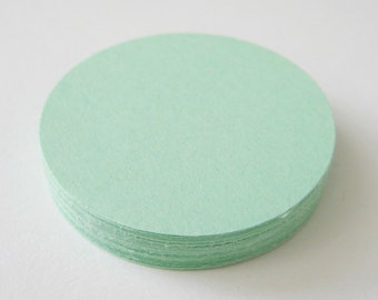 25 MINT GREEN Circle Die cuts punches cardstock 3 inch -Scrapbook, cards, embellishment, confetti