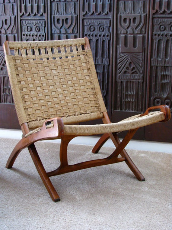 Mid century modern folding chair Danish modern Madmen by luichinis